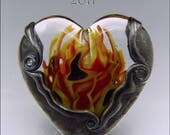 HEART'S ON FIRE - Lampwork Heart Pendant Bead -  Focal Handmade Jewelry Supplies - by Stephanie Gough sra fhfteam leteam