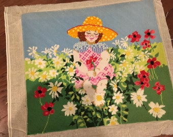 Large Summer girl in sun hat with flower garden sunflower needlepoint  bright funky colors