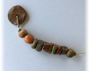 10 Rustic Artisan Handmade Ceramic Beads Plus 1 Disk Dangle Grungy Green Brown Orange