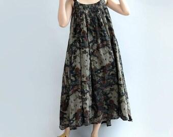 women maxi dress loose long oversized Suspender dress