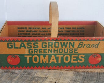 Vintage Glass Grown Brand Greenhouse Tomatoes Carry Box with Handle