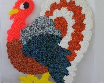 Vintage Larger Turkey Melted Plastic Popcorn Decoration