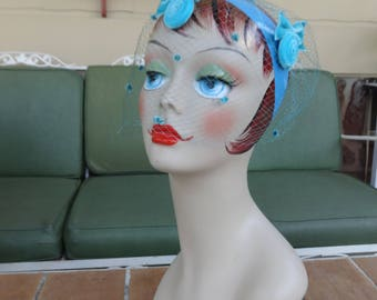 vintage women's whimsy hat millinery 1950's blue retro accessories turquoise mesh