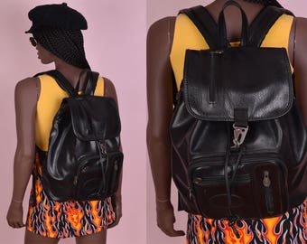 80s 90s Black Faux Leather Backpack/ 1980s/ 1990s/ Drawstring/ Bag