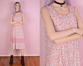 90s Floral Print Flowy Dress/ Medium/ 1990s/ Tank/ Sleeveless
