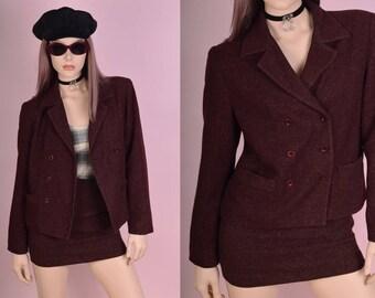 90s Heathered Burgundy Suit/ US 4/ 1990s/ Jacket/ Blazer/ Skirt/ Set