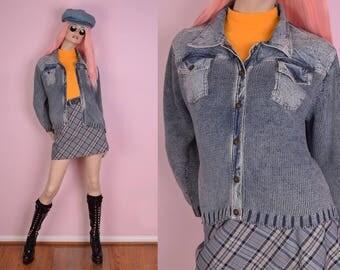 80s Acid Wash Denim Sweater/ Medium/ 1980s