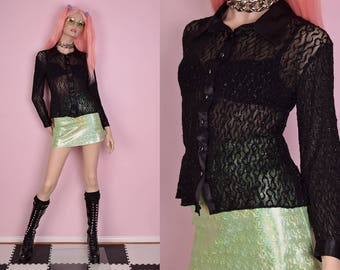 80s Black Wavy Tinsel Mesh Shirt/ Medium/ 1980s/ Button Down/ Long Sleeve