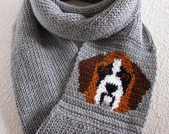 Saint Bernard Knit Infinity Scarf. Gray knitted circle scarf with a St Bernard dog. Long cowl dog scarf.  Dog lover gift