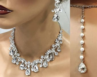 Bridal jewelry set, Wedding jewelry set, crystal jewelry, bridal necklace earrings, bridesmaid jewelry, Victorian evening necklace earrings