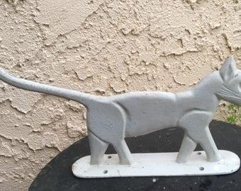 Vintage painted cast iron cat boot scraper / door stopper  cats garden decor  silhouette