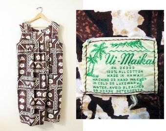 Ui Maikai Hawaiian Dress + Vintage 60s Brown & Cream Floral Print Mumu + Made in Hawaii + Hawaiian Hibiscus Geometric Print Tent Dress +