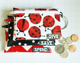 Ladybugs Spend Save Give kids budget wallet | laminated cash budget envelopes