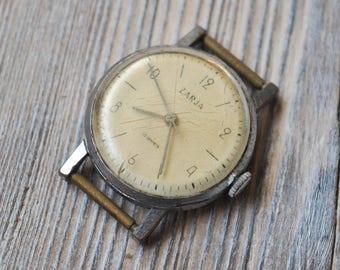 ZARJA Vintage Soviet Russian wrist watch for parts. Didn't work.