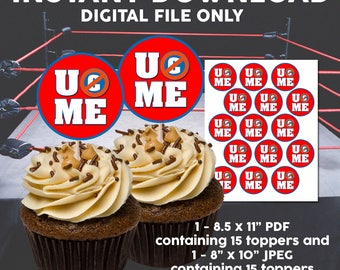INSTANT DOWNLOAD Wwe John Cena You Cant See Me Printable Cupcake Toppers, Wwe Wrestling, Digital, Printable Toppers, Party Decor, Supplies