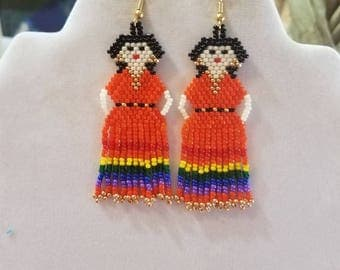 Mexican Fiesta Doll Beaded Earrings Orange, Red, Green, Yellow,  Blue, Purple  Southwestern, Boho, Peyote, Brick Stitch, Ready to Ship