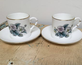 Vintage demitasse cup and saucer, set of 2. Made in Engeland by Royal Worcester.