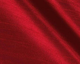 """Two 96"""" L   Custom  Lined Curtain Panels  with  Pinch Pleats  100% Dupioni Silk - Red"""
