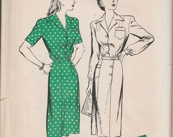 1940's Sewing Pattern Butterick 2917 Nurses' Uniform or Tailored dress bust 30