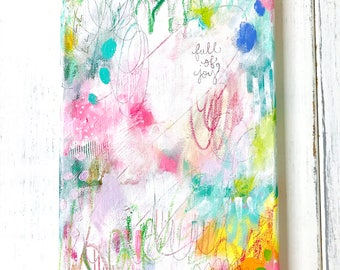 """Abstract Painting/ """"Full of Joy""""/ Wall Art/ 8x16 inch Canvas/ Mixed Media/ Joyful Art/ Colorful Home Decor/ Gift for Any Occasion"""