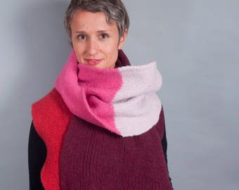 Blanket Scarf // Felted Merino Wool // Boiled Wool // Gifts for her // Shawl // Giant Scarf // Colorblock // Striped // Wrap
