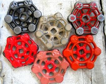 Industrial Steel - Cast Iron Valve Handles, Steam punk,  Assemblage, Garden Decor, Collection of 6 Heavy Duty