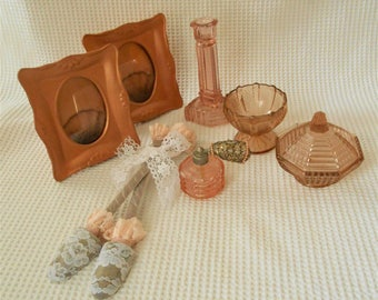 Rose Gold Pink Boudoir Table top 7 Piece Set  Pink Rose Gold Glass set Vintage Storage Bedroom Bathroom