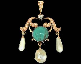 Antique 14k Gold Diamond Turquoise River Pearls Pendant, Exquisite c1900