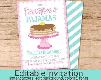 Pancakes and Pajamas Invitation, Pink Pancake, Girl Birthday Invite, Pajama Party, Sleepover, Editable Birthday Invitation, Instant Download