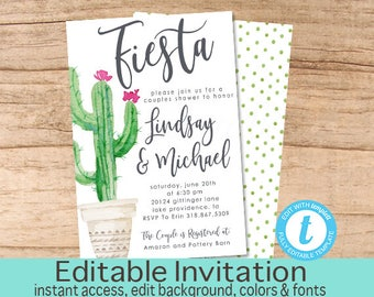fiesta couples shower invitation cactus invitation editable couples shower invitation couple shower invitation