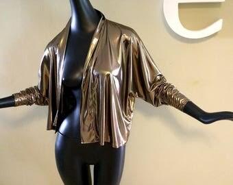 Vintage 80s Liquid Gold Jacket Disco Top 1980s Party Slinky Shiny Metallic Chrome Finish Studio 54 Clubbing Night Club Dress Topper