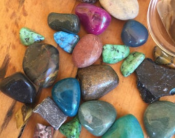 Jar Of Tumbled Gemstones Variety Jewlery Stone Crafts Gifts Chakra Ephemera