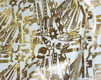"""Leather CLOSEOUT 12""""x12"""" Abstract Tool pattern GOLD metallic on WHITE Cowhide #262 1.5-2 oz / 0.6-0.8mm PeggySueAlso™"""