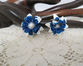 Vintage Large Flower Earrings Hand Painted White Flowers Blue Centers Boho Clips