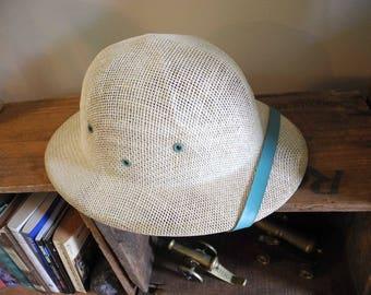 Vintage Safari / Pith Helmet. Never worn. Costume Pith Helmet. Safari helmet. Pith Helmet. Blue Accent Pith Helmet