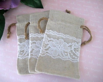 "Linen & Lace Favor Bags for Rustic Wedding, Gift Card, Linen Bags Drawstring, Linen Favor Pouch Gift Bags with Lace Decor, 3"" x 5"", 12 bags"