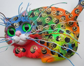 Cat wall sculpture-crazy cat lady art- whimsical cat-colorful cat-cat wall decor