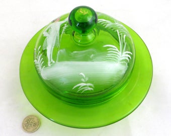 Antique Mary Gregory Style Dish, Hand-painted White Enamelled Green Glass Lidded Butter/Trinket Dish/Toilet Jar