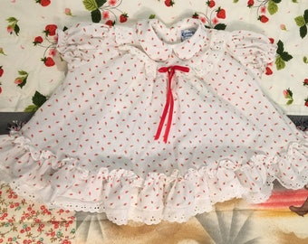 Sweet 80s Strawberry Dress Size 0-6 Months