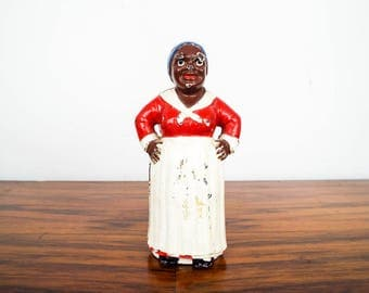 Vintage Black Americana Hubley Style Maid Aunt Jemima Woman Cast Iron Coin Bank, One of a Kind Piggy Bank Money Coin Safe