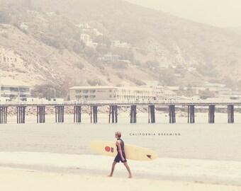 California Surfer, Surfer Art, Surf Photography, Gift for Surfer, Malibu Surfrider Beach, Beach Photography, Surfer Boy Art, Surfer Print
