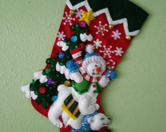 Finished Bucilla Stocking SNOWMAN and POLAR Bear  18 inches UNIQUE