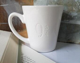 Harry Potter Mug 9 3/4 Engraved Coffee Cup, Book Lover Gift, Hogwarts Express, Harry Potter Gift, Unique Harry Potter Mug