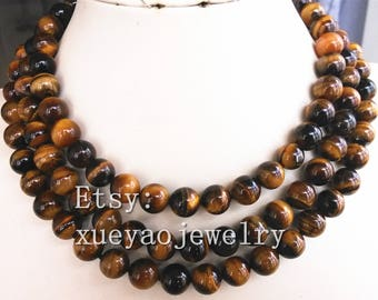 Beautiful natural 10mm tiger's eye stone necklace 15-65 inch