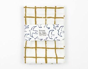 Grid Tea Towel by Depeapa