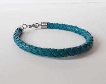 teal leather bracelet, unisex braided leather cuff, bracelets for women, bracelets for men, modern minimalist jewellery