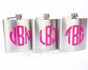 Bridesmaid Gifts   Monogrammed Flask   Bachelorette Party Favor   Girls Weekend Flask   Sorority Gift   21st Birthday Gift Bridal Party Gift