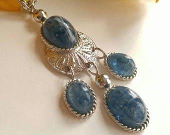 Vintage Les Bernard necklace blue cab silver tone