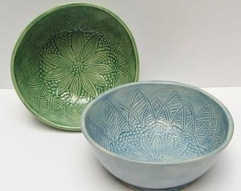 ceramic bowl (set of 2); ceramic bowl handmade; hand built pottery; ceramic and pottery bowl