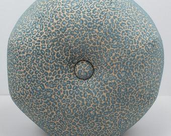 Dorm Room Decor- Aqua Leopard Pouf Ottoman- Pouf- Footstool- Round Ottoman- Leopard Chenille- by beckyzimmdesign